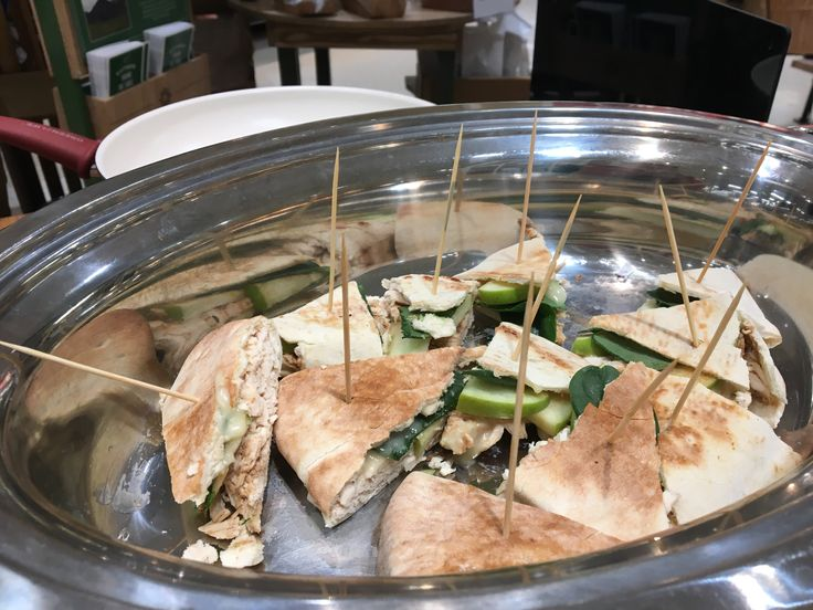 We saved time by using a rotisserie chicken from our deli for this recipe!  We added in Granny Smith apples, brie cheese, spinach, and balsamic for a delicious combination.  The best part?  It was all inside of a pita pocket!