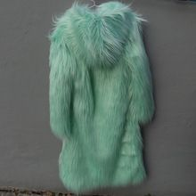 Sonbahar Güz uzun nane yeşil faux kürk palto ile hood kadın yapay sahte kürklü kabarık ceket coat ile kürk ceketler mont(China (Mainland))