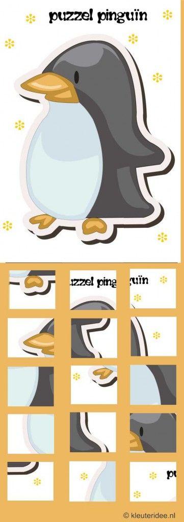 puzzel pinguin, kleuteridee.nl free printable .