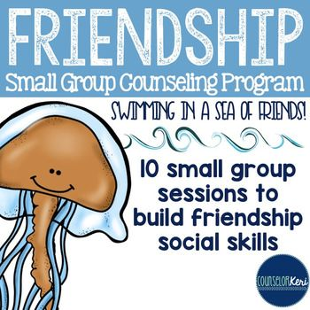 This low-prep 10-session small group counseling program aims to empower students to maintain positive friendships by teaching key friendship social skills.Includes student self-assessments, teacher assessment, objectives assessment checklist, 10 easy to follow lesson plans (objectives, outline, materials list, ASCA standards alignment), visual aids, sea of friends poems and printables, fun craft activities, all necessary handouts, teacher nomination forms, parental consent form, counselor…