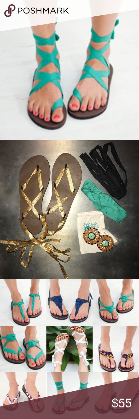 Brown Leather Sandals with Accessories 2nd picture is what's for sale-the sandals, 3 pairs of ribbons (black, gold, and teal) and a pair of circle accessories(missing a few beads).  The other photos are examples of the different ways they can be worn and so many videos on how to tie them:) Handcrafted in Uganda, Sseko sandals are made of genuine leather for long-lasting durability and all-day comfort. Sseko Shoes Sandals