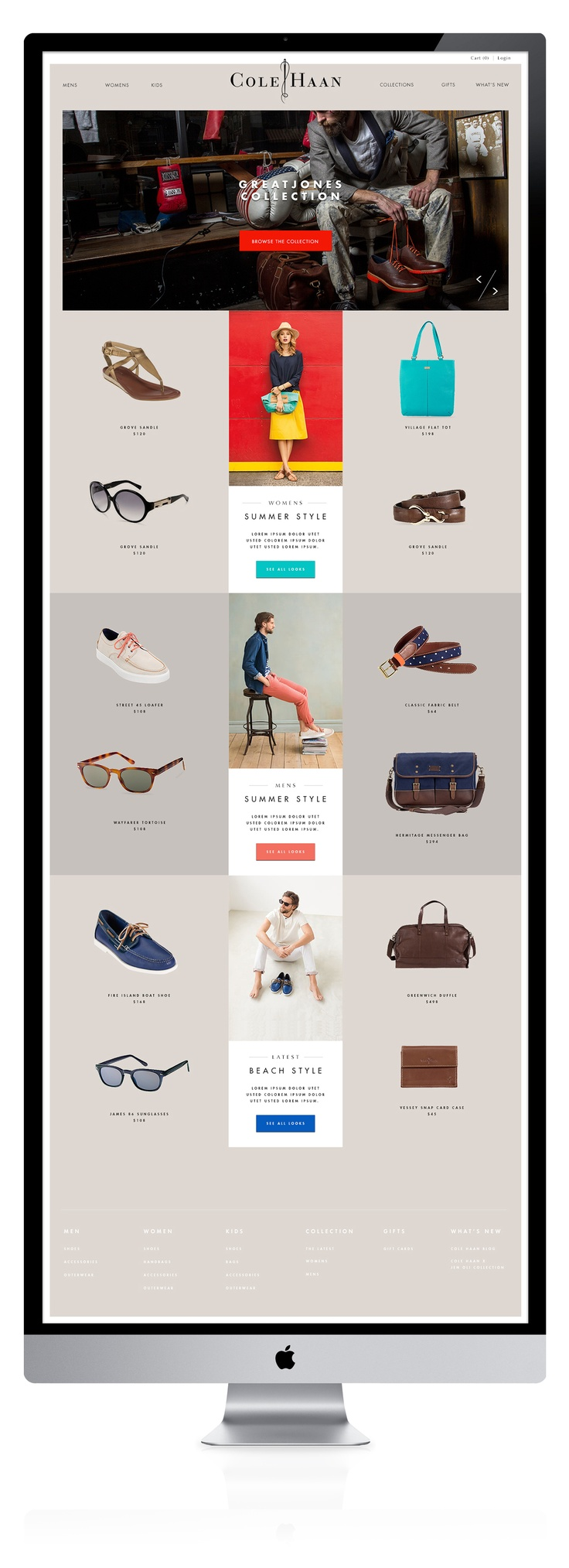 colehaan_home.jpg | #webdesign   Great way to display product -  creative web design layout with lifestyle photos in the center of the page also work well.  Creative Web Design Agency www.IsadoraDesign.com