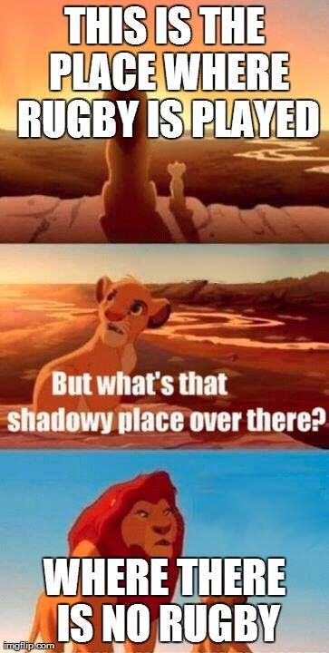 This is the place where rugby is played... But what's that place over there? Where there is no rugby... #rugby #LionKing