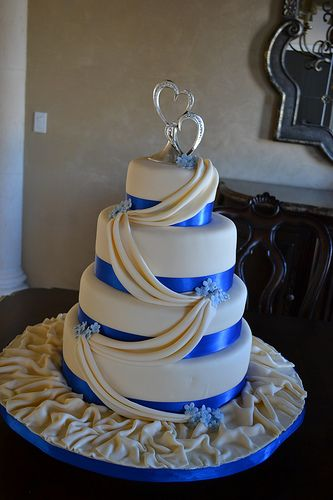 Ivory and Royal Blue Wedding Cake by Lily's cakes, via Flickr