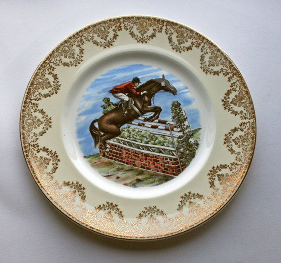 Stoke-on-Trent gold detailed decorative plate. Show jumping picture, English china, Horse jumping by gardenfullofVintage on Etsy