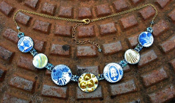 """delft""  necklace  pieces of antique broken china pieces with japan and swarowski pearls"