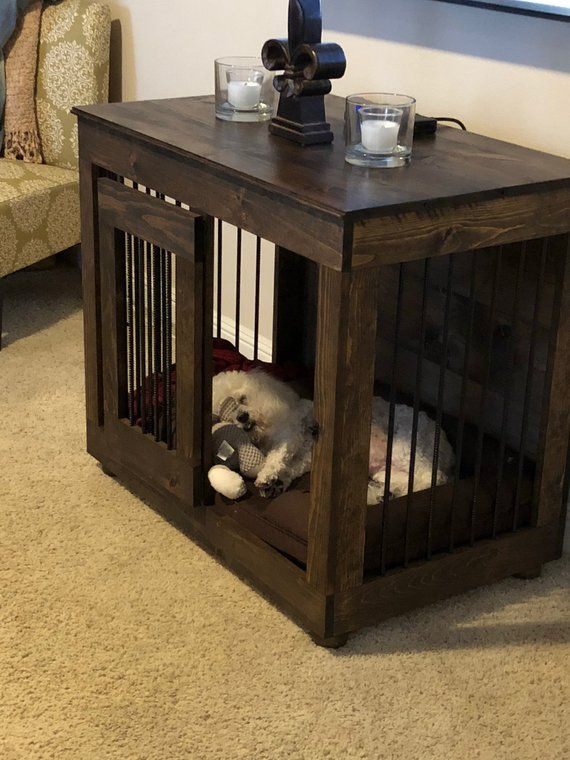 Dog Crate Single Door Custom Kennel Furniture Ohio Handcrafted End Table Diy