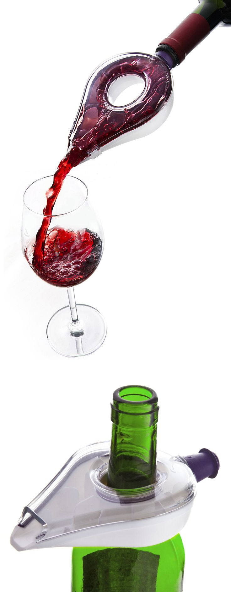 Wine Aerator // fits neatly on top of the bottle when not in use #product_design