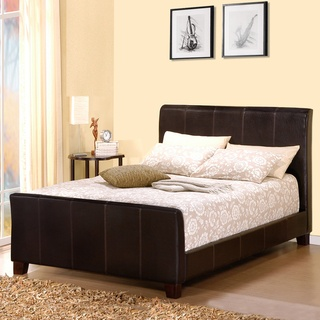@Overstock.com - Bring a whole new life to your bedroom with this king size dark brown sleigh bed. This sleigh bed, made by Castillian, is upholstered in a beautiful dark brown vinyl. The contemporary bed frame is constructed of solid Asian rubberwood. http://www.overstock.com/Home-Garden/Castillian-Dark-Brown-Upholstered-King-size-Sleigh-Bed/4599499/product.html?CID=214117 $530.99