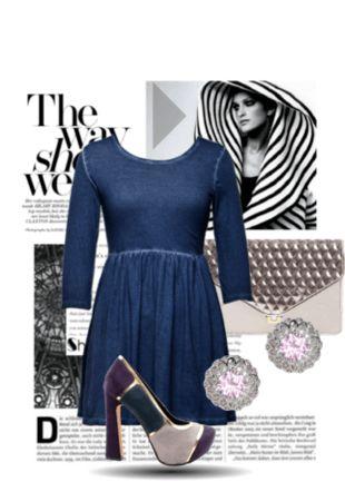 denim wash cotton knit dress, high heel multi-coloured court shoes, haute metallic silver envelope clutch, gorgeous pink earrings.