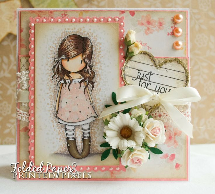 Just for you card using Gorjuss Girl stamp