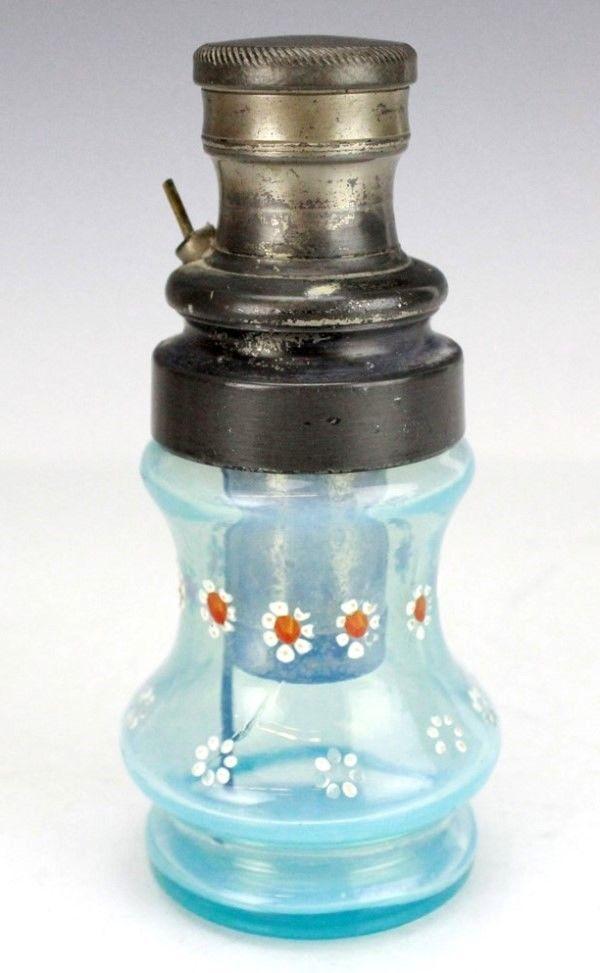 Antique Powder Blue Blown Glass Enamel Daisy Flower Perfume Atomizer Bottle BFL #Unknown