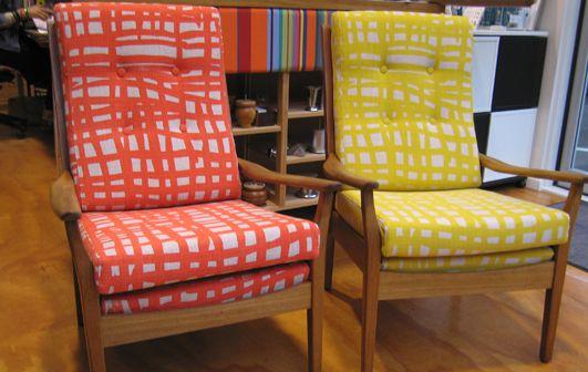 Cintique Armchairs, citrus tones - Living Room, Wellington