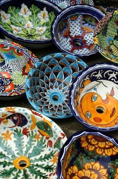 Talavera sinks ~ Offered at http://www.lafuente.com/Mexican-Decor/Talavera-Pottery/Talavera-Sinks/
