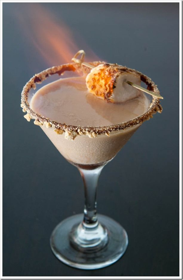 Flaming s'mores martini