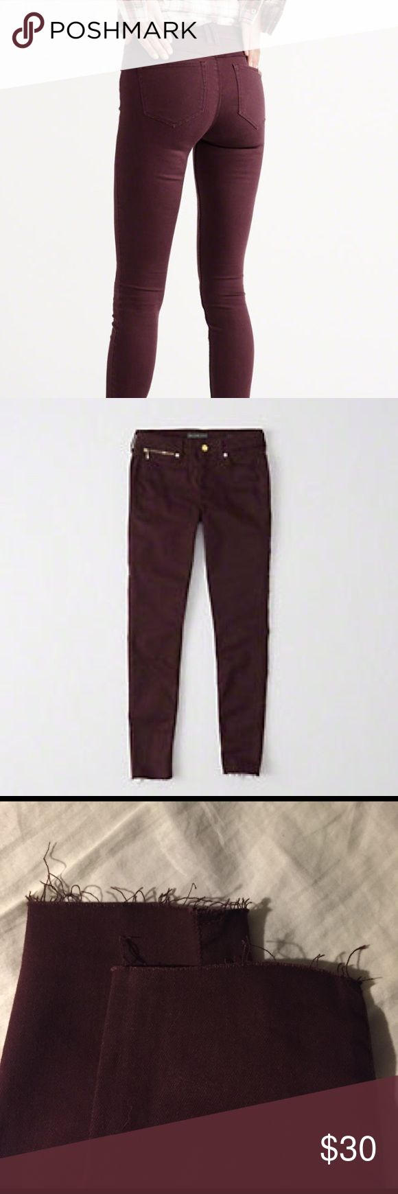 Abercrombie and Fitch Super Skinny Jean Brand new with tags! Super skinny jeans! Color is Burgundy! Width: 26 Length: 29R Abercrombie & Fitch Pants Skinny