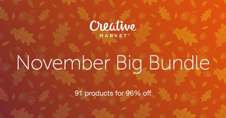 Pick up Creative Market's November Big Bundle. Fonts, Templates, Graphics and More. A $1,130 value... Only $39!