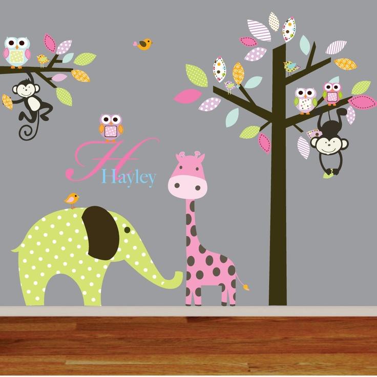 Giraffe,elephant,monkey nursery wall decal sticker vinyl tree and branch jungle decals. $165.00, via Etsy.
