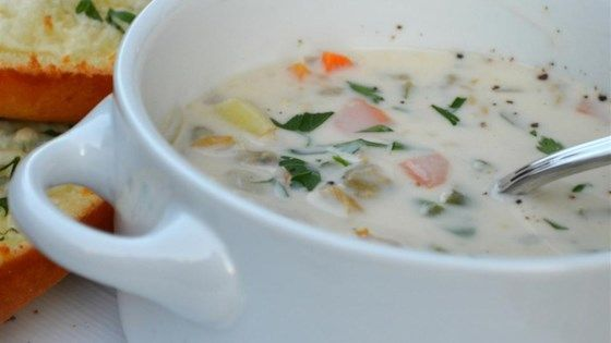 A traditional cream-based clam chowder gets a boost of flavor from a little red wine vinegar.