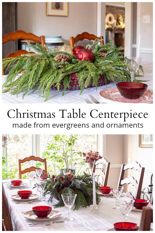 Christmas Table Centerpiece Made With Evergreens And Ornaments Christmas Table Centerpieces Christmas Table Centerpieces Diy Table Centerpieces Diy