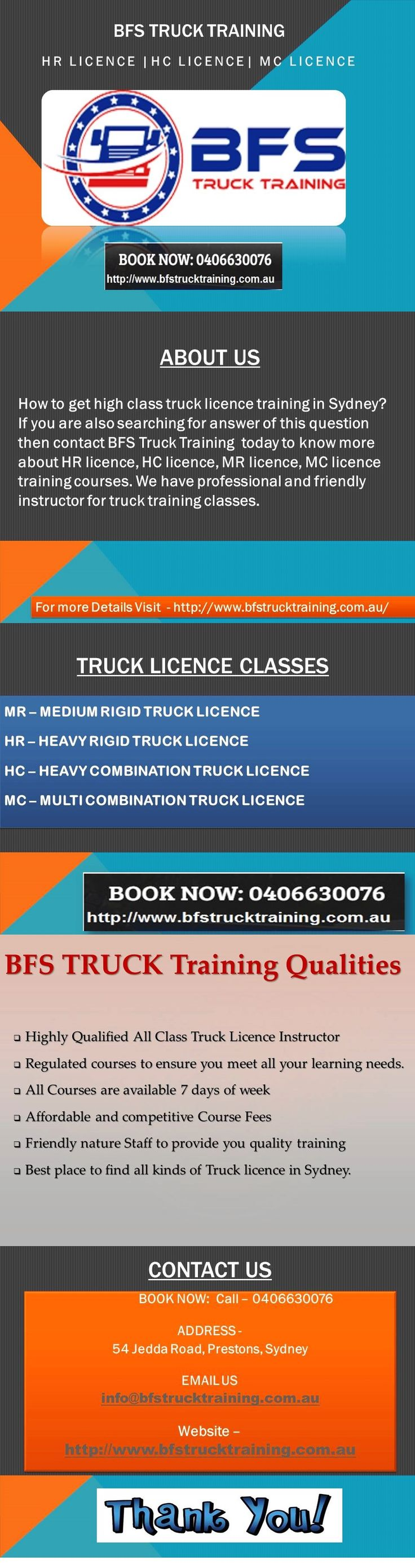 Best School for HC Licence Training - BFSTruck Training -How to get high class truck licence training in Sydney? If you are also searching for answer of this question then contact BFSTruck Training today to know more about HR licence, HC licence, MR licence, MC licence training courses. We have professional and friendly instructor for truck training classes.