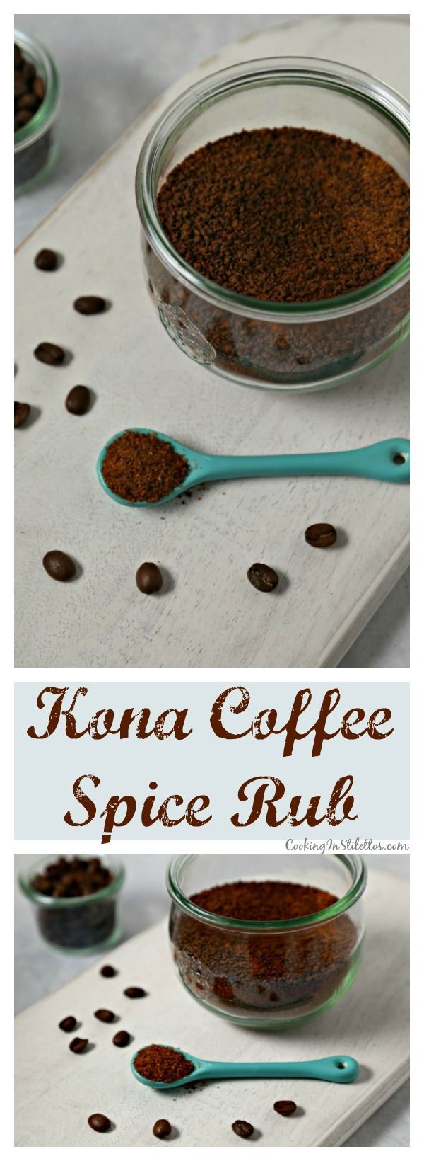 This Kona Coffee Spice Rub from CookingInStilettos.com will be the hit at your next cookout.  This flavorful spice rub will add a savory kick to your favorite steaks, burgers & more with rich kona coffee, a touch of sweetness and a hint of smoke and spice.  Forget the store-bought spice rubs - this Kona Coffee Spice Rub is so easy to make and perfect for giving and receiving. | @CookInStilettos