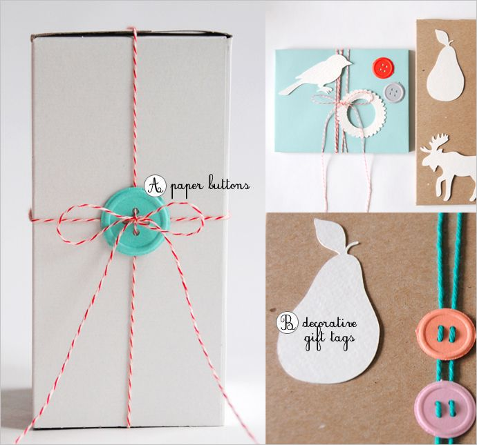 Button + twine around a package.