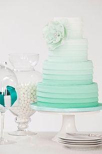 Trendy or not, I'm a sucker for ombre. This cake has ombre, ruffles anda paper-flower style embellishment. Favorite! ella moda SUMMER   Inspiration   Minty wedding cake http://ellamodabrides.blogspot.com.au/