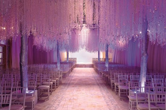 PANTONE Color of the Year 2014 - Radiant Orchid wedding inspiration: Wonderland Wedding, Wedding Aisle, Wedding Decor, Winter Wonderland, Winter Wedding, Wedding Lights, Wedding Plans Ideas, Preston Baileys, Wedding Ceremony