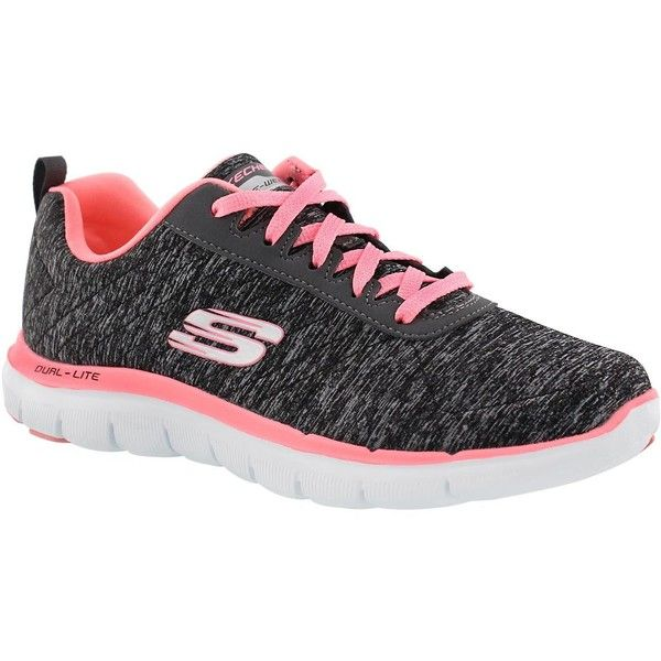 Skechers Women's FLEX APPEAL 2.0 black/pink lace up runners (87 CAD) ❤ liked on Polyvore featuring shoes, athletic shoes, pink shoes, kohl shoes, skechers footwear, skechers athletic shoes and black pink shoes