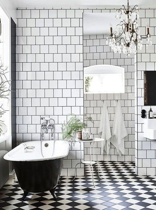 Black And White Tiled Bathroom Part 40