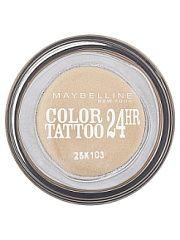 """Тени для век """"Color Tattoo 24 часа"""" оттенок 05 Вечное золото 4 мл Maybelline New York  Технология тату-пигментов теней для век """"Color Tattoo 24 часа"""" создает яркий супернасыщенный цвет. Крем-гелевая текстура обеспечивает ультралегкое нанесение и стойкость на 24 часа. Способ применения: нанеси каплю на веко и растушуй ее от внутреннего угла глаза к внешнему.. Тени для век """"Color Tattoo 24 часа"""" оттенок 05 Вечное золото 4 мл Maybelline New York промокоды купоны акции."""