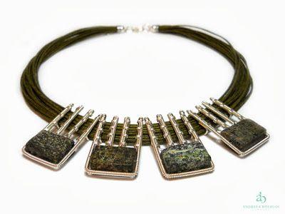 "Andreea Bololoi Jewelry: ""Rainforest"" Necklace #necklace #geometric #silverplated #wire #wirework #handmade #contemporaryjewelry #green #gemstones #thread #cotton"