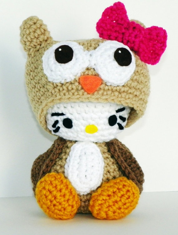 Hello Kitty Doll  Hello Kitty Owl Crocheted by hookmiup on Etsy, $30.00. This is so cute, I wonder if there's a pattern?