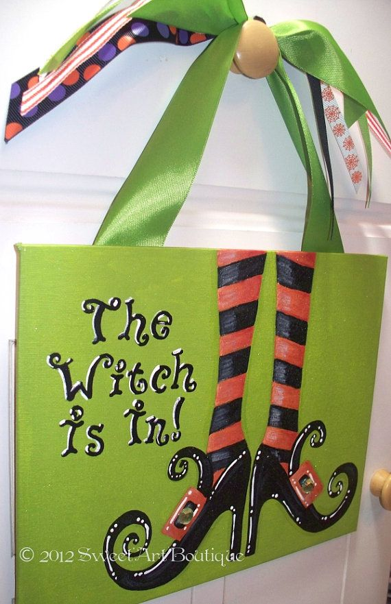 Limited Edition 2012 Personalized custom Halloween The Witch Is In welcome door sign hand painted art boots stockings orange lime black