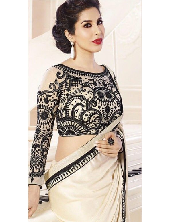Sophie Choudry In Off-White And Black Shimmer Georgette Embroidered Saree