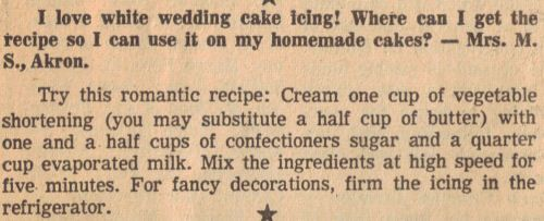 RecipeCurio.comWhite Wedding Cake Icing Recipe Clipping | RecipeCurio.com
