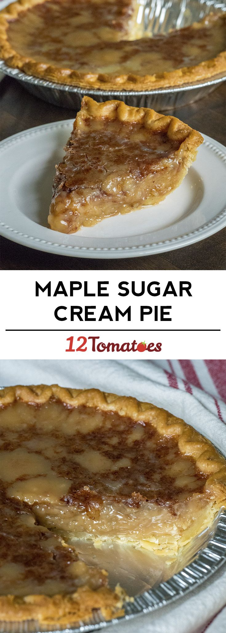 Old -Fashioned Maple Sugar Cream Pie. Perfect for a fall dinner or Thanksgiving.
