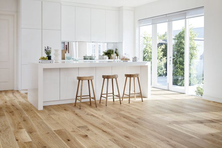 Our Oak Avenue Timber in a light and bright kitchen. Select from six handpicked designer hues