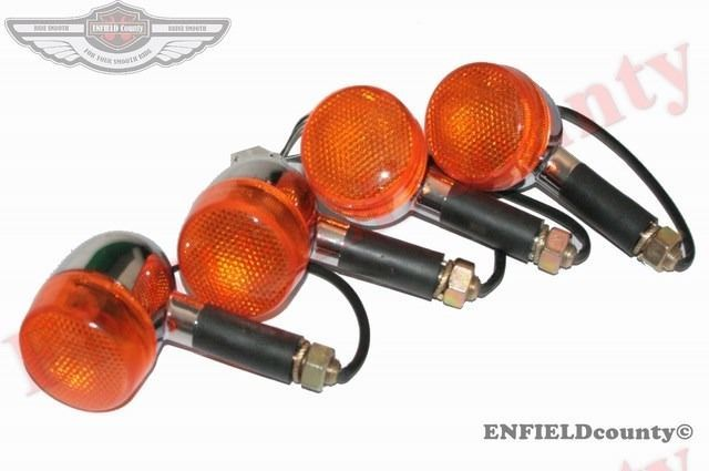NEW SET OF 4 FRONT REAR 12V AMBER INDICATOR BLINKER ROYAL ENFIELD T BIRD CLASSIC