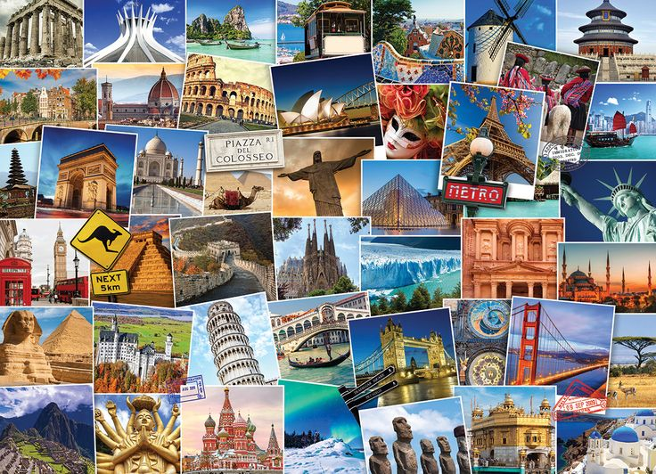 World Globetrotter. 1000 pieces. It's a small world after all.  Your passport to the world all in one puzzle, over 40 destinations to view.  This 1000 piece puzzle is sure to give you the travel bug as you will want to book your flight today!