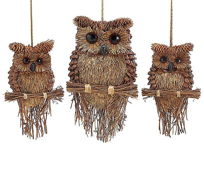 #burtonandburton Pinecone owl ornament assortment.brbrSM: 10 1/2H X 6 1/2W X 2 1/2D.brLG: 15H X 8W X 3D.brMix of 3.