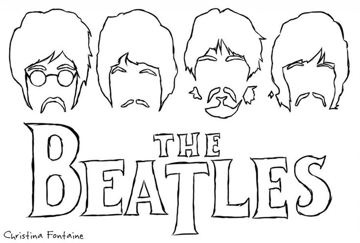 The Beatles Coloring Pages | The Beatles - Silhouette by VampiretteKnight