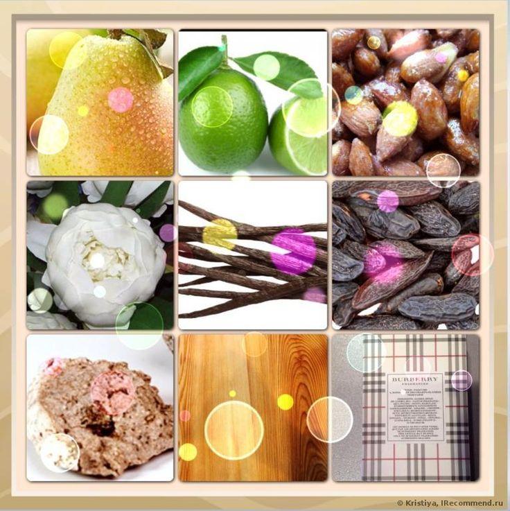 Burberry Brit принадлежит к группе ароматов цветочные фруктовые. Пирамида аромата: Верхние ноты: лайм, миндаль, груша Сердце: пион и засахаренный миндаль База: ваниль, бобы тонка, амбра, махогани