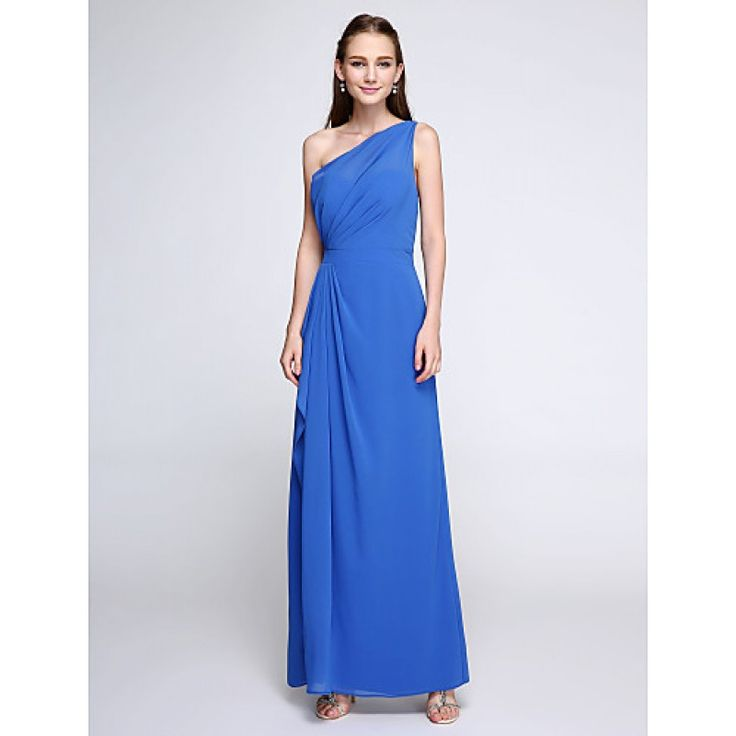 2017 Ankle-length Chiffon Bridesmaid Dress Elegant Sheath Column Sexy One Shoulder with Side Draping #bridalfeel #chiffonbridesmaiddresses #bridesmaiddress #bridesmaid Coupon Code: Coupon code: 2017code 10% discount on any order from bridalfeel.co.nz
