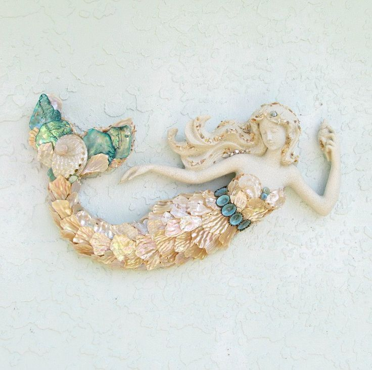 Mermaid Decor, Mermaid With Shells, OOAK Mermaid, Mermaid Figurine Statue,  Mermaid For Wall, Mermaid Art, Mermaid Wall Art