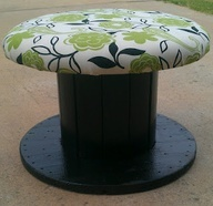Wooden Spool chair..have plenty of these!! Ask an electrician for his left overs! Cute idea for a garage!