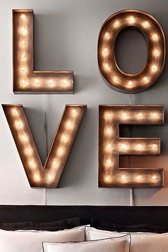 Vintage Hollywood Letters - LOVE - above the headboard: Decor, Vintage Illuminated, Ideas, Restoration Hardware, Marquee Letters, Illuminated Marquee, Light, Bedroom, Wedding Gifts