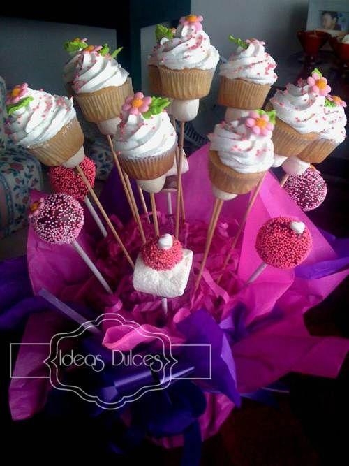 Arreglo De Mini Cupcakes Cake Pops Y Masmelos Para El