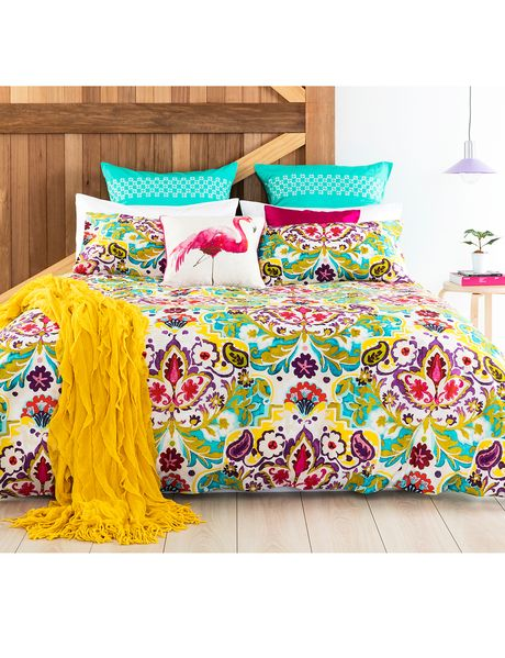 The Keiko Nyah duvet cover set features a rich, luxurious print that will add a…